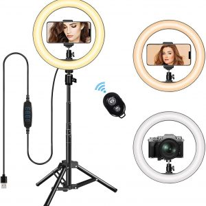 """10.2""""Dimmable LED Ring Light with Tripod Stand & Phone Holder"""