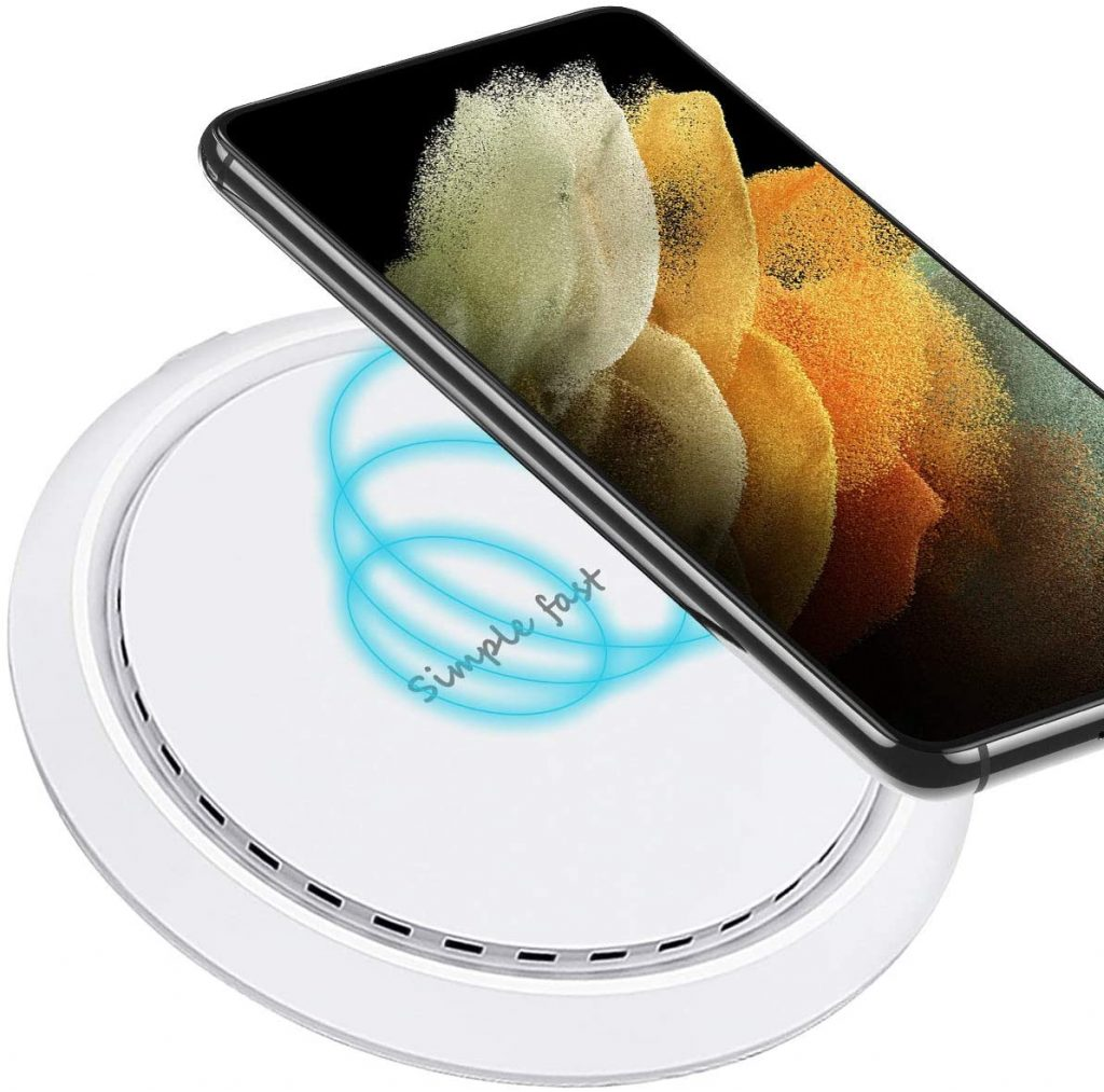 ULTRICS Wireless Charging Pad, Ultra Slim 10W Fast Wireless Charger Compatible with iPhone 12 Pro Max/12 Mini/SE 2020/11/11 Pro/XS Max/X/8 Plus, Airpods Pro, Galaxy S21 Ultra/S20+/S10e/S9, Note 20/10