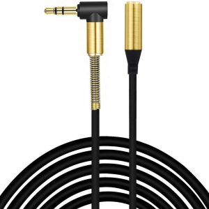 AUX Extension Cable 3.5mm Right Angle Gold Plated Jack Auxiliary Audio Lead